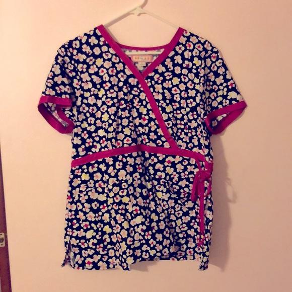 COPY - Koi printed scrubs top, size large